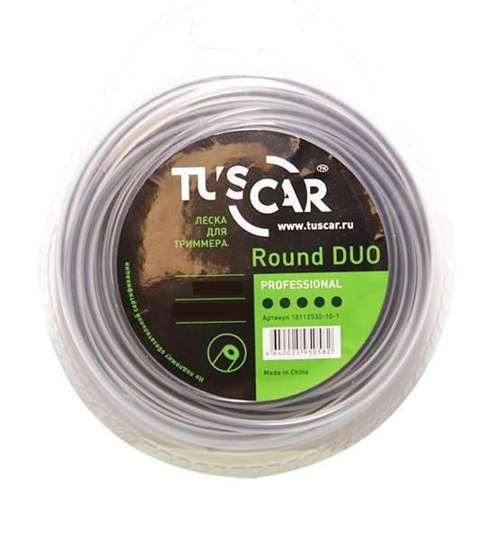 "леска для триммера tuscar ""round duo"", professional, 2.4mm*44m"