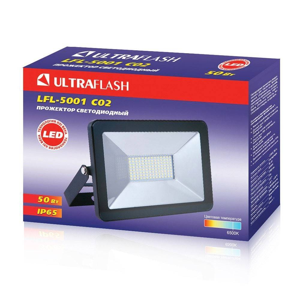 прожектор led ultraflash lfl-5001 50вт c02 черный 6500к