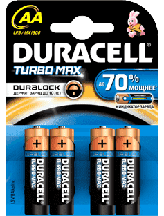 элемент питания duracell turbo max mn2400/lr03 bl2 ааа